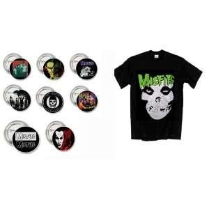 Punk Rock The Misfits Retro X Large Shirt And Button/Pin Set