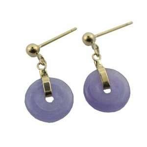 Lavender Jade Mini Donut Drop Earrings, 14k Gold Jewelry