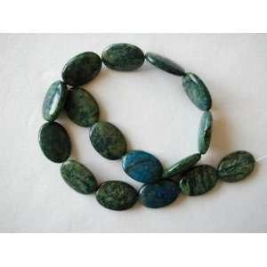 25mm blue green azurite flat oval beads 16 strand