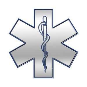 Silver Star of Life EMT EMS 4 Reflective Decal Automotive