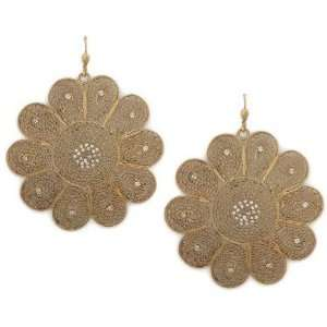 Gold Plated Swarovski Crystal Accented Filigree Flower Dangle Earrings