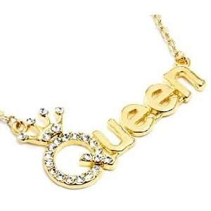 Gold Plated Trendy Crystal Accented QUEEN with Crown