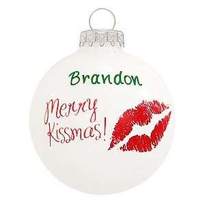 Merry Kissmas Glass Ornament: Home & Kitchen