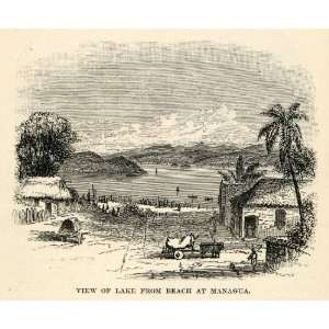 1888 Wood Engraving View Lake Beach Managua Nicaragua Mountain Central