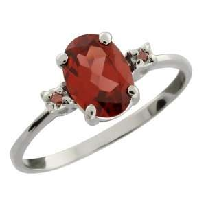 1.41 Ct Oval Red Rhodolite Garnet and Cognac Red Diamond