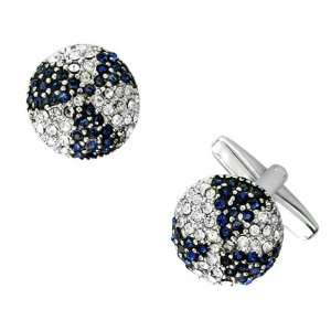 Classic Round Cufflinks with Dark Blue and Clear Crystals in Pinwheel