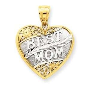 Tone Best Mom Scroll Heart Pendant   Measures 24.2x19.3mm   JewelryWeb