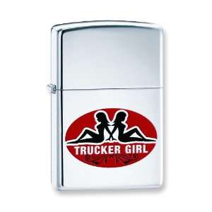 Trucker Girls High Polished Chrome Zippo Lighter Arts