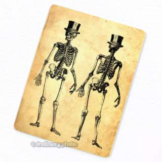 Full Body Skeleton w/ Top Hat Deco Magnet; Anatomy Vintage Medical