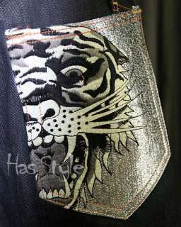 Ed Hardy Mens Jeans Tiger Silver Pocket Raw 32