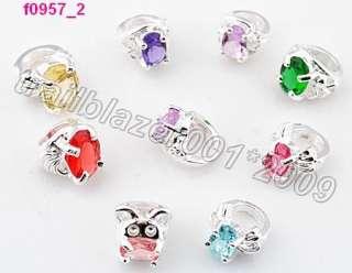 10pcs mixed colour mini rings beads fit European Charm bracelet f0957