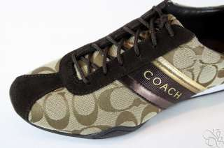 COACH Jayme Signature Khaki / Chestnut Womens Sneakers Shoes A1585 New
