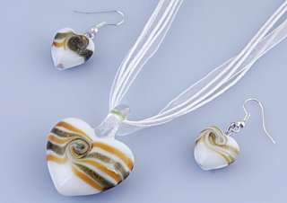 6Boxes Heart Murano Glass Pendant Necklace Earring Set W14533 Gold