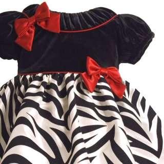New Baby Girls Zebra Taffeta Christmas Dress 24 months