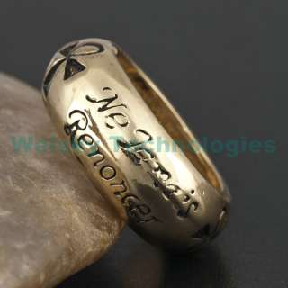 Never Give Up Egypt Ankh Token Gold Tone Ring R174 #8