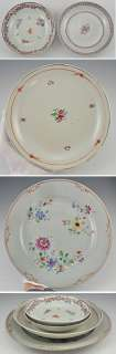 Antique Chinese Hand Painted Floral Dishes Plates
