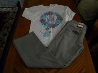 Girls Plus Size Jeans & Shirt Outfit 14 1/2 16 1/2