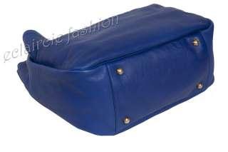 YVES SAINT LAURENT YSL Roady Stingray Handle Blue Leather Hobo Bag