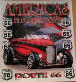 AMERICAS HIGHWAYS 66 HOT ROD SHIRT T SHIRT GIFT 13L/DM