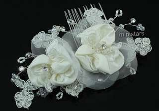 Bridal Wedding Handmade Ivory Fabric Flower Crystal Hair Comb T1430