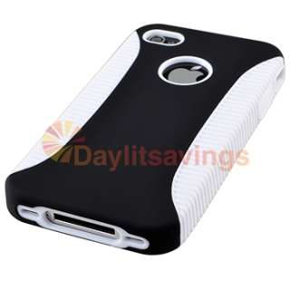 White TPU/Black Plastic Hybrid Cover Hard Case For Apple iPhone 4 4S