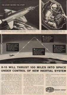 958 USAF North American X 15 rocket aircraft Sperry Ad