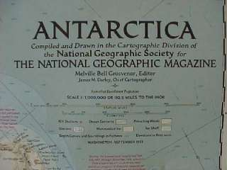1957 Map ANTARCTICA South Pole Little America Amundsen Shackleton Byrd