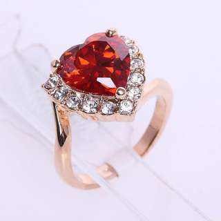 18K Yellow Gold Plated Red Crystal Swarovski Ring 94602