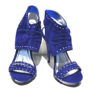 Royal Blue Velvet Sexy Womens High Heel Slingback Sandals (Retail $79