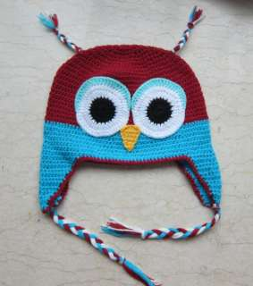 Baby Toddler Red Blue Crochet Owl Ear Flap Hat Cap Beanie