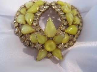 Vintage Heart Rhinestone Brooch Pin 3D Flower Yellow & Crystal