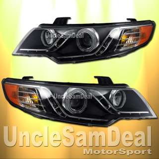 RIM ANGEL EYE R8 LED PROJECTOR HEADLIGHTS BLACK 10 12 KIA FORTE KOUP