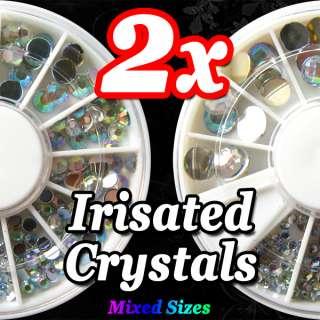 2x 300pcs Nail Art Decor Glitter Acrylic Irisate Rhinestone Sparkling