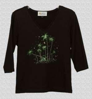 Christine Alexander Black 3/4 Sleeve Embellished Tee Shirt Top, M