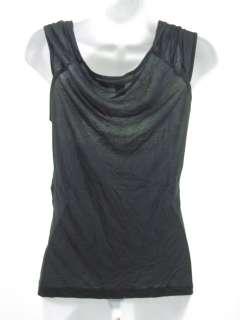 DIANE VON FURSTENBERG Black Micro Modal Shirt Top Sz L
