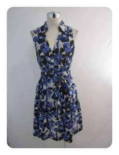 New Donna Ricco White Black Lapis Cotton Floral Tie Waist Dress 14 $