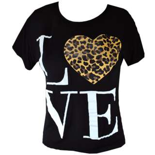 Ladies Animal Print Leopard Love Heart Womens Top Tee T Shirt Size 8