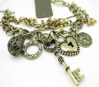 Antique style Heart Key Ring Lock ball Charms bracelet X86