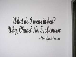 WHAT DO I WEAR IN BED? ~ Wall Quote Decal Marilyn Monroe Bedroom Vinyl