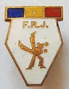 sport pin Romanian Judo Federation FRJ 1970s enameled wrestling sambo