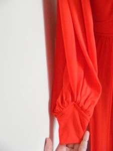 Vtg 1970s Dark Orange Jersey Flower Lace JOY STEVENS Maxi Dress M