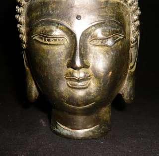 Old Tibet Tibetan Buddhist Bronze Shakyamuni Buddha Head Statue