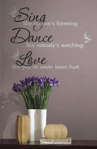 New SING DANCE LOVE WALL DECALS Quotes Stickers Decor