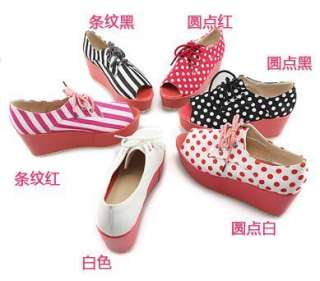 3494 Japan Style Women Lady Lace up Platform Wedge Peep Toe Sandals