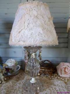 Vintage Romantic Glass Vanity ~ Boudoir Lamp With Shabby Lace Shade