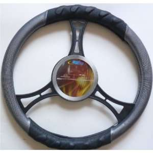 Gray Carbone & Black Steering Wheel Cover Automotive
