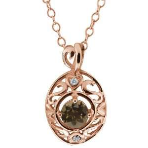 47 Ct Round Brown Smoky Quartz and White Diamond 18k Rose Gold Pendant