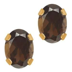 50 Ct Oval Brown Smoky Quartz 14K Yellow Gold 4 prong Stud Earrings