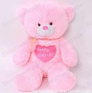 TEDDY BEAR w HAPPY BIRTHDAY LOVE HEART PINK GIANT 40