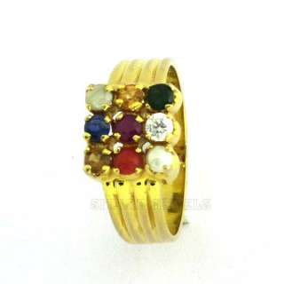 Fine Jewelry India Yellow Gold Astrology Navratna Gemstone Ring US